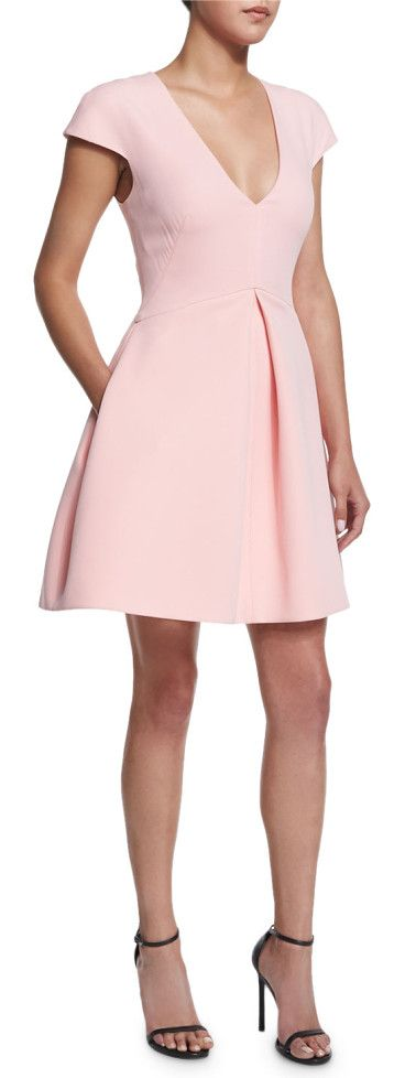 """On SALE at 40% OFF! Cap-sleeve v-neck structured dress by Halston Heritage. Halston Heritage structured dress. Approx. length: 26""""L down center front, 34""""L down center back...."""