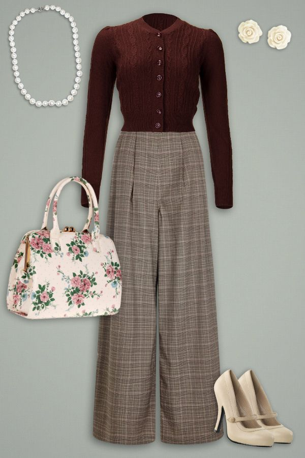 Un superbe look d'automne! Cardigan emmy design ice skater chocolate, Collectif Margorie 1940s trousers, Pinup Couture cream pums ♥ MissRetrochic.com boutique vintage & glamour