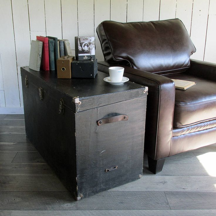 Old Storage Trunk, Shipping Trunk, Tall Trunk, Side Table, Firewood Box,  Wooden Box