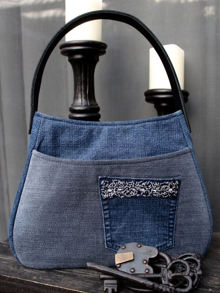 Denim Leather Strap Handbag with Beaded Front Pocket, Front Slip Pocket, Two Interior Pockets with Blue and White Lining - 279484982 by AllintheJeans on Etsy