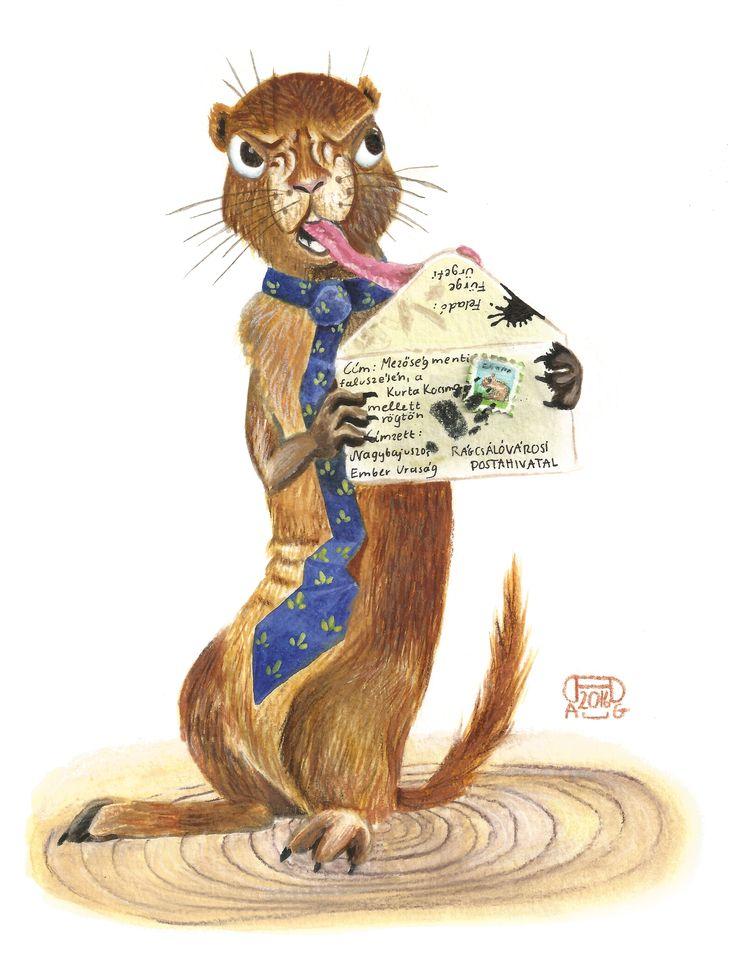ground squirrel character illustration - aquarell watercolour gouache bodycolour