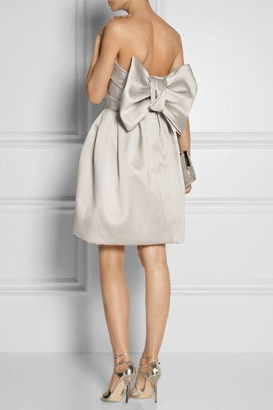 LANVIN Bow-embellished duchesse-satin dress