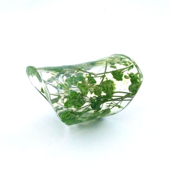 Extra Wide Resin Ring with Green Baby's Breath Flowers. Green Band Ring, Statement Ring, Cocktail Ring, Knuckle Ring. Eco Resin.  Bio Resin by SpottedDogAsheville on Etsy