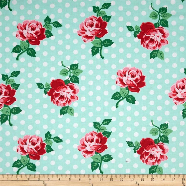 Micheal Miller Retro Florals Lucy Aqua from @fabricdotcom  Designed for Michael Miller, this cotton print fabric is perfect for quilting, apparel, and home decor accents. Colors include aqua, white, shades of red, shades of green, and shades of pink.