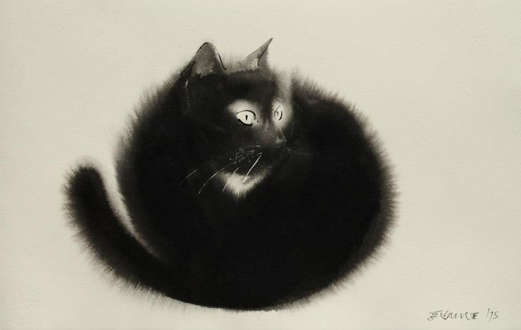 New Ethereal Watercolor and Black Ink Cats That Fade into the Canvas by Endre Penovácby Christopher Jobson on July 3, 2015