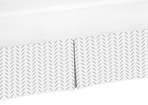 Gray and White Leaf Crib Bed Skirt Dust Ruffle for Girls ...