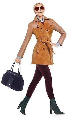 IMAN Platinum Luxe Leather and Suede Trench Coat