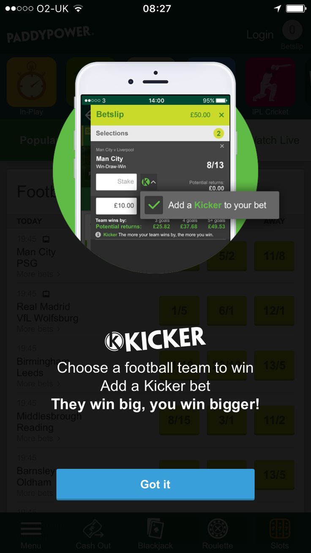 Paddy Power iOS Kicker new feature splash screen