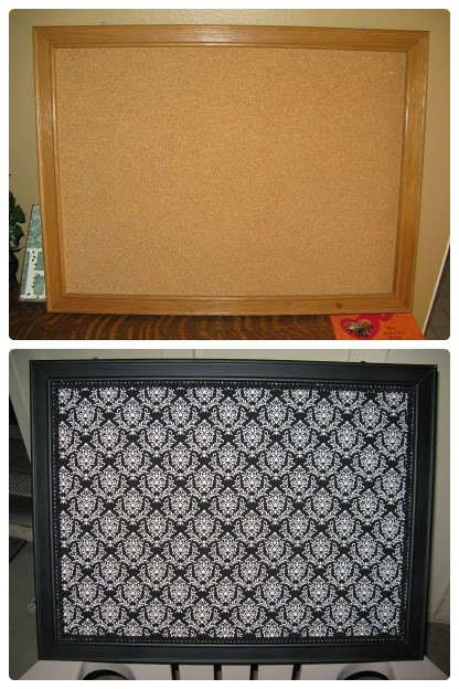 """Just your average corkboard! The first thing I did was prime and paint the """"frame"""" part of the board. I then found this black and white damask fabric that I fell in love with!!! I used some spray adhesive to attach the fabric right to the cork. I finished it off with some decorative ribbon around the edges to cover any imperfections with the scissors cutting job:"""