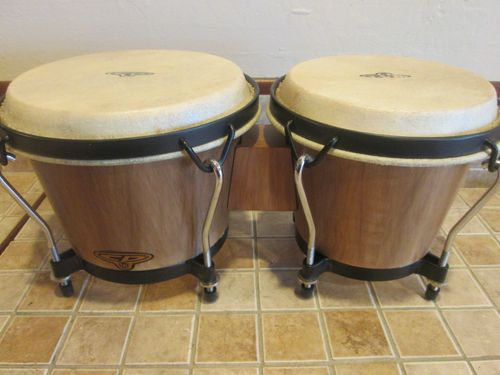 "LP CP Latin Cosmic Percussion Bongos CP221 AW Natural Light Wood Finish 6"" 7"" 