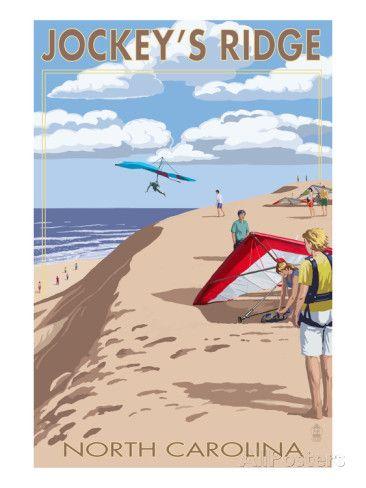 Jockey's Ridge Hang Gliders - Outer Banks, North Carolina Print by Lantern Press at AllPosters.com