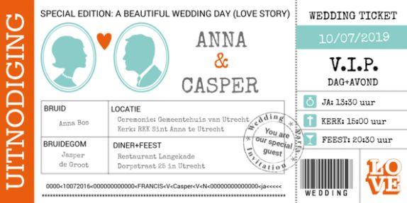 Trouwkaart wedding ticket Special Edition