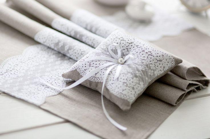 Wedding Ring Pillow Natural Linen Ring Bearer by LinenHomeShop, $21.99
