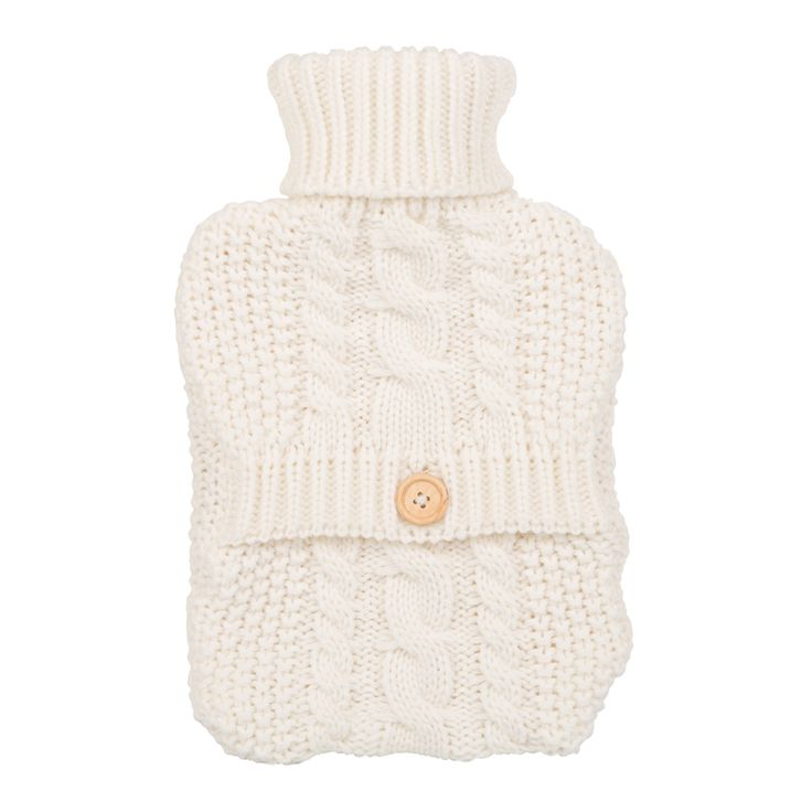 #AddWarmth this winter, comforted by the feel of old-fashioned chunky knit wrapped around a hot water bottle.