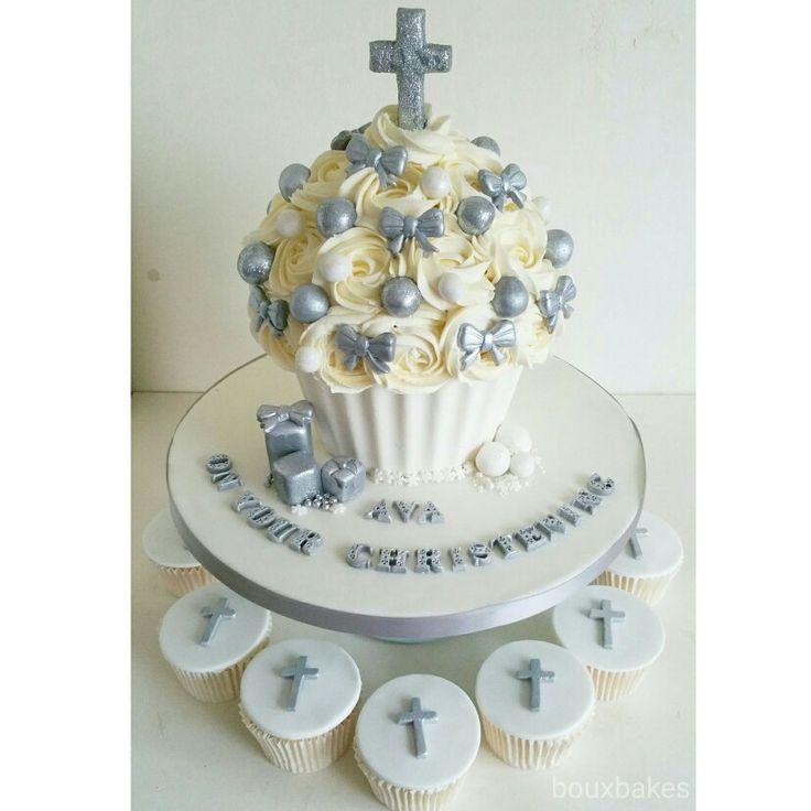 Christening giant cupcake and matching cupcakes