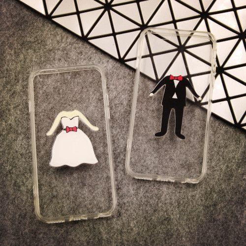 情侶婚紗禮服~手工iPhone6手機殼蘋果iPhone4.5S手機殼矽膠手機殼