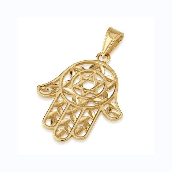 14K Gold Hamsa Cutout Necklace by JEWLR