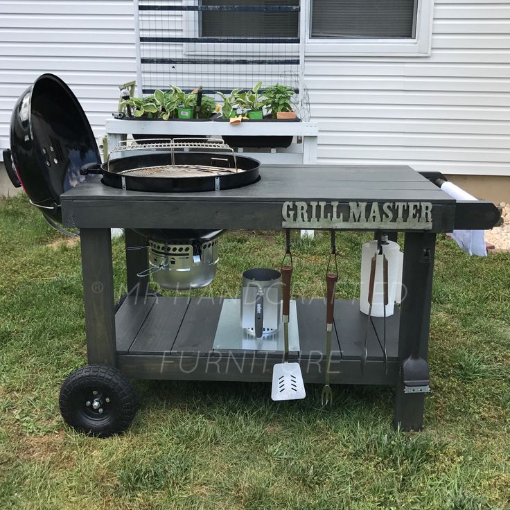 Customized Grill Table For A Weber Master Touch Charcoal Grill. Made By MR  Handcrafted Furniture