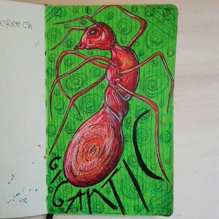 Gigantic red ant illustration Formica rossa gigante illistrazione by @distrofiamuscolare in IG   #art #illustrazione #illustration #draw #drawing #ant #inktober #surrealism #watercolor #moleskine #lettering #painting #illustrator #myart #disfrofiamuscolare