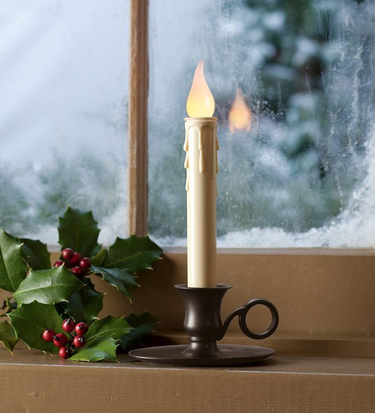 automatic candle with old fashioned candlestick plow hearth - Christmas Candle Lights For Windows