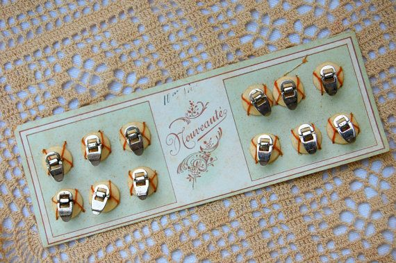 Vintage French button card, French cuff buttons, vintage french buttons, french bone buttons. set of 12, rare and special