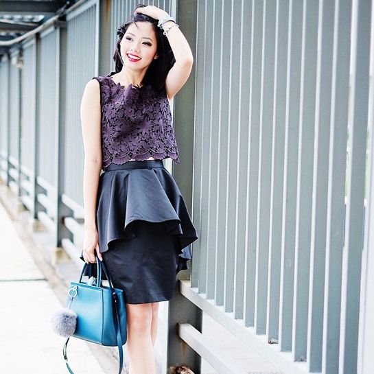 5 Lace Outfit Ideas That Are Far From Expected #refinery29  http://www.refinery29.com/how-to-wear-lace#slide5  Olivia Lazuardy throws on a peplum skirt and lace top to make a flirty ensemble. Both are by Peonyrose.