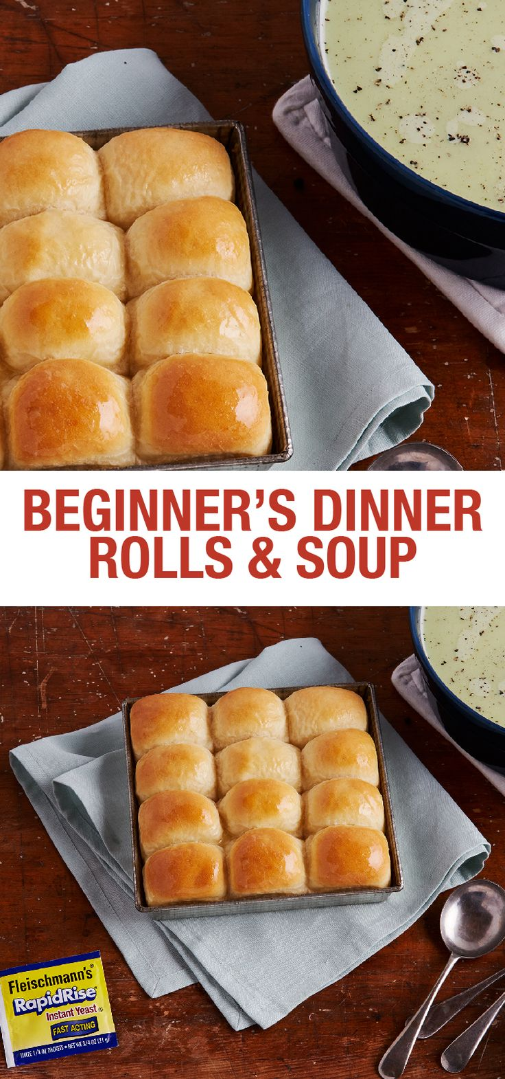 Nothing beats the smell of fresh-baked bread and there's no shortage of ways to serve homemade Dinner Rolls. Pair them with your favorite warm, savory soup the first night and serve them stuffed with your favorite fillings as sliders the next night. The dough can be prepped in advance and refrigerated up to 24 hours, so it's an easy recipe to integrate into your weekly meal plan.