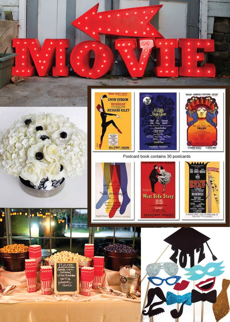 {Pin}spiration: Broadway Graduation Party THE MOVIES POPCORN AND DRINKS AND THE PHOTO BOOTH PROPS FOR THE CAMERA