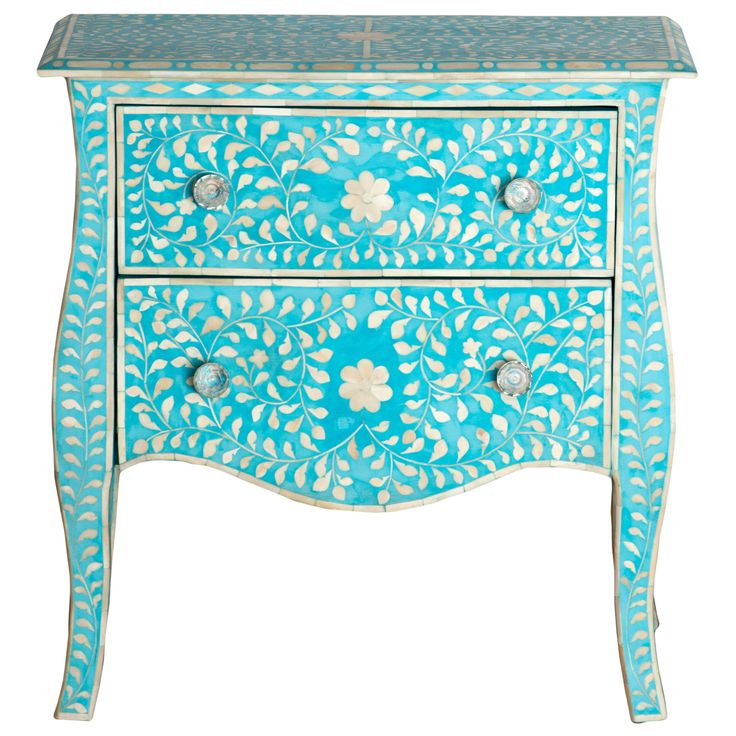 Bright Turqouise Side Table   French Provincial Style #french #provincial  #boneinlay