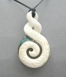 Maori Bone Double Twist Pendant with Carving and Paua Trim
