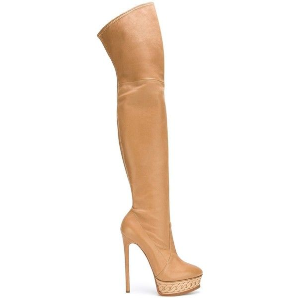 Casadei platform heel thigh-length boots featuring polyvore, women's fashion, shoes, boots, leather boots, beige leather boots, over the knee leather boots, real leather boots and beige boots