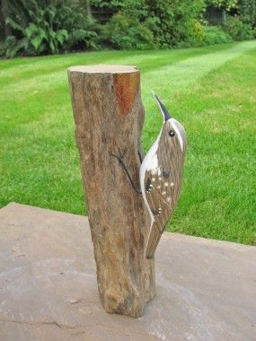 Treecreeper Carved Bird By Archipelago.  Hand carved and painted by craftsmen in Bali Indonesia, under fair trading conditions using lead free paints and local replaceable softwoods.