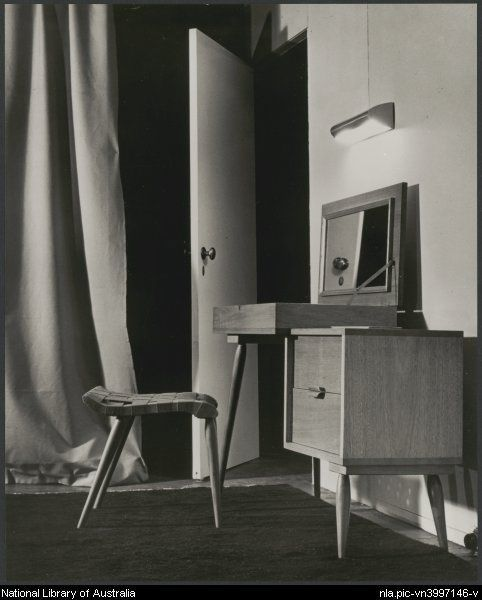 Sievers, Wolfgang, 1913-2007. Dressing table in the 'House of Tomorrow' exhibition at Exhibition Building, Melbourne, 1949 [picture]