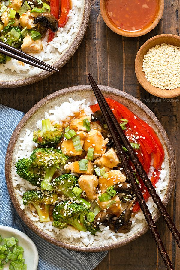 General Tso's Sweet Chili Chicken Rice Bowls recipe