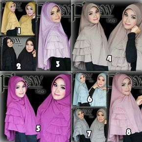Hijab Syar'i Khimar Inaya Model 2017 Harga Murah dengan aksen rempel tumpuk. Rempel bisa dikreasikan di depan maupun di samping. Ket : panjang sesuai gambar