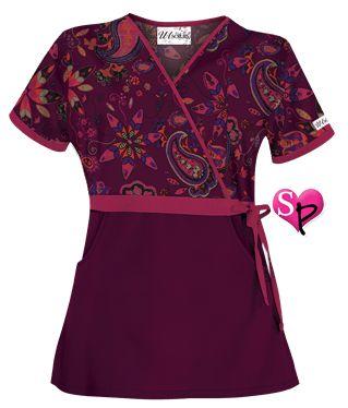 UA Wild Gypsy Wine Mock Wrap Scrub Top Style # UA28WGW  #uniformadvantage #uascrubs #sophiespicks #scrubs #scrubtop