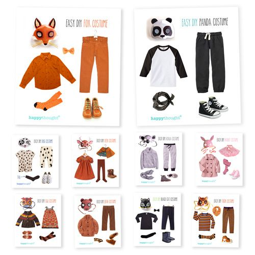Use clothes at home to create Animal costume ideas: Bear, Panda, Cat, Dog, Owl, Tiger. Fox, Rabbit, Koala, Deer. Inspired by 10 DIY Printable Animal masks.