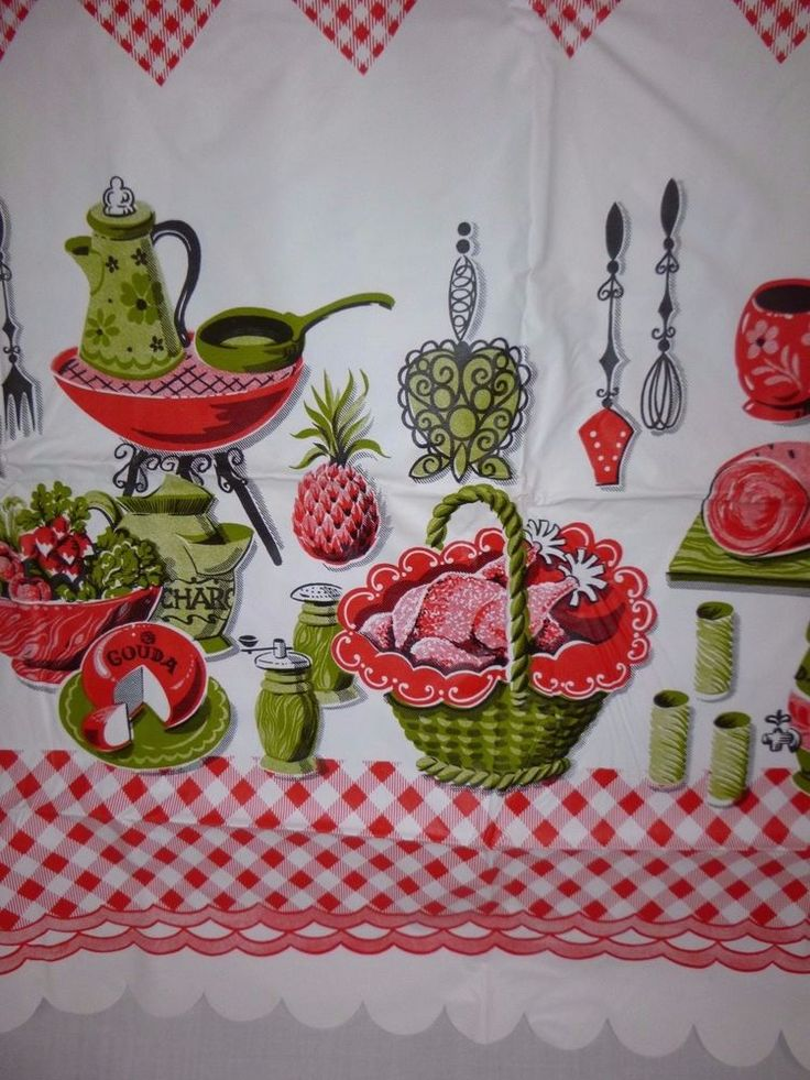 Vtg Lightweight Vinyl Picnic Tablecloth Red & Avocado Green Kitchen Motif 54x68