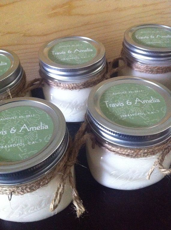 Wedding Favor Candle 100 Soy 16oz Rustic Wide Mouth Mason Jar Great