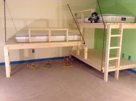 17 best ideas about triple bunk beds on pinterest triple for Suspended beds for kids