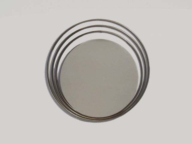 1950's Concentric Ringed Mirror | Spain | Dimension: 64W x 1D | 1950's mirror frames with chrome concentric rings