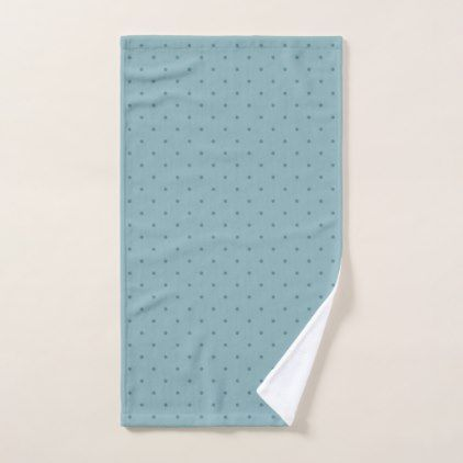 Tiny Blue-Green Polka Dots on Lighter Blue-Green Hand Towel - pattern sample design template diy cyo customize