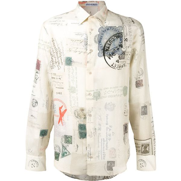 Alexander McQueen - Letters from India print shirt - men - Silk/Cotton... ($945) ❤ liked on Polyvore featuring men's fashion, men's clothing, men's shirts, men's casual shirts, mens long sleeve collared shirts, mens button front shirts, mens print shirts and mens patterned shirts