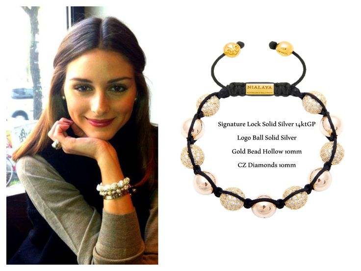 Olivia Palermo wears a stunning NIALAYA Signature Lock 925 Solid Silver 14 Kt. Gold Plating Logo Ball 925 Solid Silver 14 Kt. Gold Plating 7 mm Gold Bead Hollow 10 mm Gold Plated CZ Diamonds 10mm £359