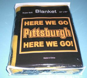 Steelers Blanket   Pittsburgh Steelers Here We Go Black Gold Blanket New   eBay