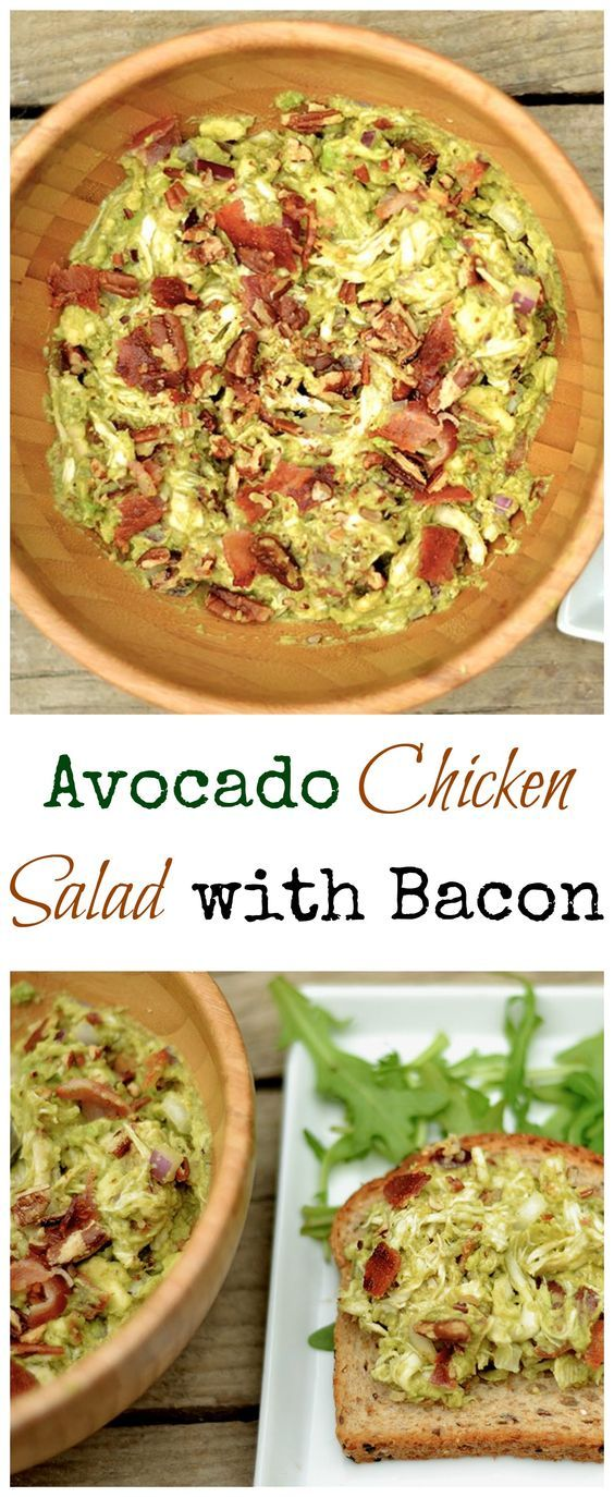 A twist on the classic Chicken Salad recipe with avocado, bacon, and pecans. Serve over greens (Paleo & GF) or in a wrap or sandwich. Easy and delicious meal!: