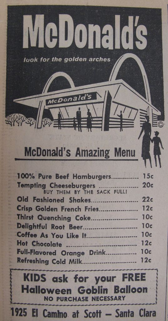 McDonald's Menu 1962 Ad | Wowee!!! Check out these prices! | Flickr