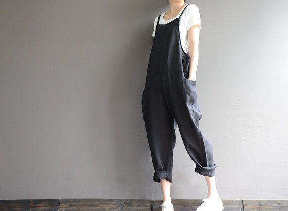 Babero de ramio naturales sueltos pantalones overoles por complus
