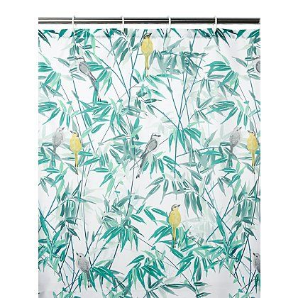 Bird & Leaf Fabric Shower Curtain   Home & Garden   George at ASDA