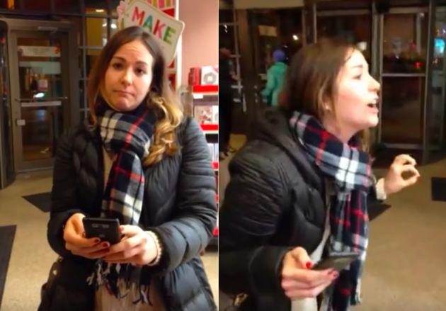 """""""I voted for Trump, so there. You want to kick me out because of that?"""" the woman yells in a profanity-laced rant."""